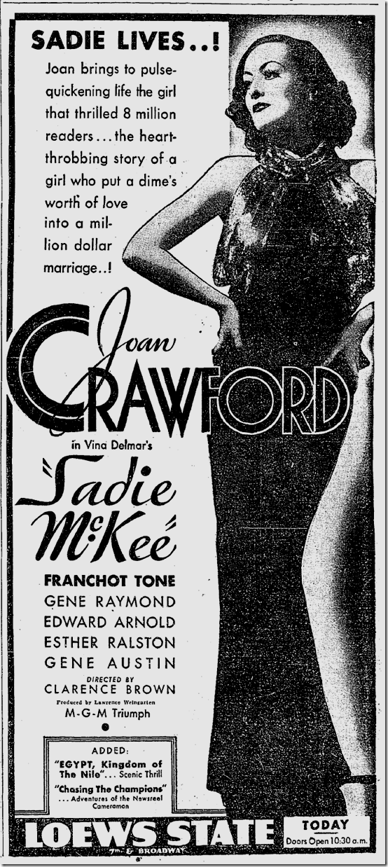June 13, 1934, Sadie McKie