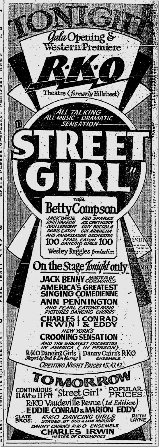 Sept. 11, 1929, Street Girl