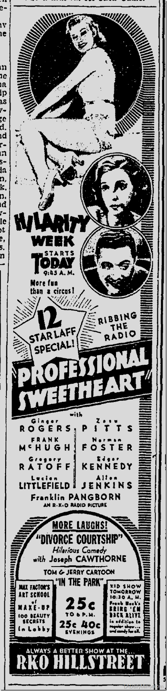 July 28, 1933, Professional Sweetheart
