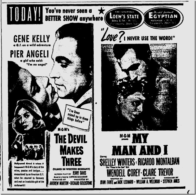 Sept. 24, 1952, Devil Makes Three