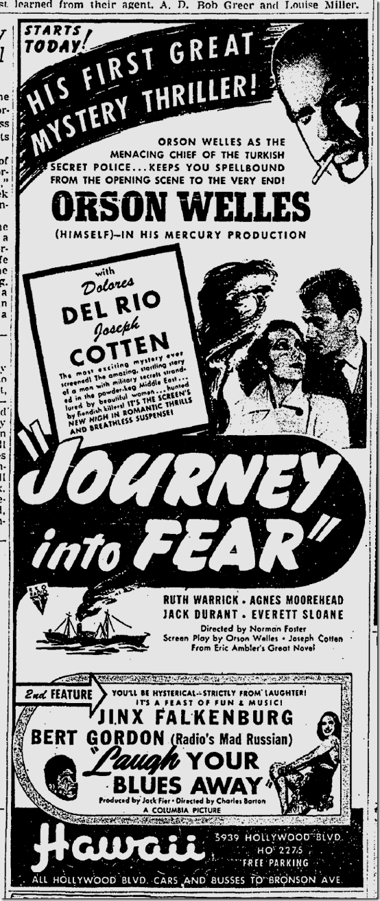 April 14, 1943, Journy Into Fear