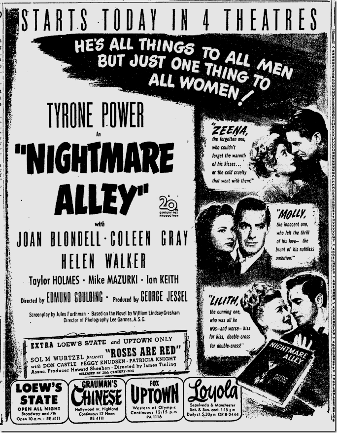 Nov. 14, 1947, Nightmare Alley