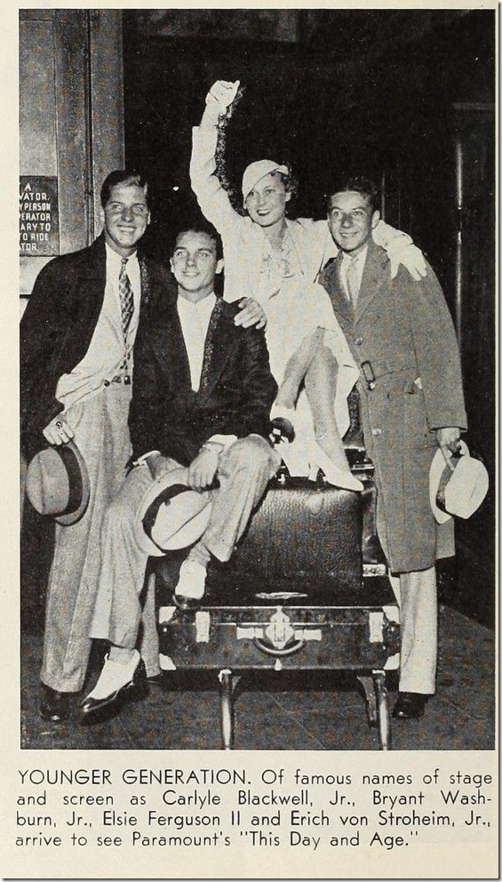 Carlyle Blackwell Jr., Bryant Washburn Jr. Elsie Ferguson II and Erich von Stroheim Jr.