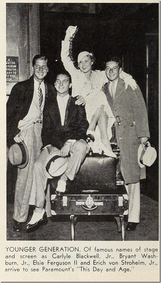 Carlyle Blackwell Jr., Bryant Washburn Jr. Elsie Ferguson II and Erich von Stroheim Jr.