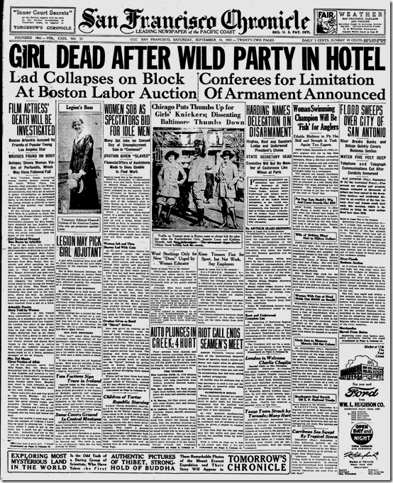 San Francisco Chronicle, 1921