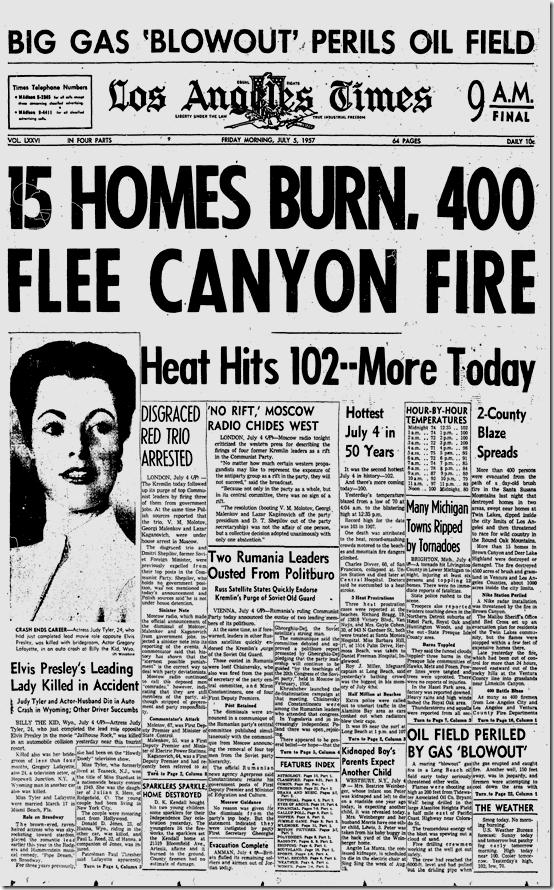 July 5, 1957, Judy Tyler Killed