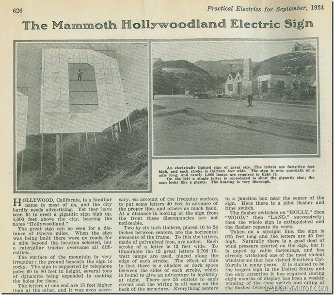 Hollywoodland Sign engineering 1924