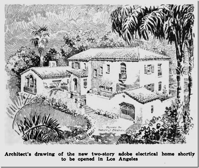 An artist's concept of the electrical adobe house