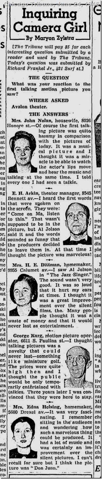June 24, 1946, First Talkie