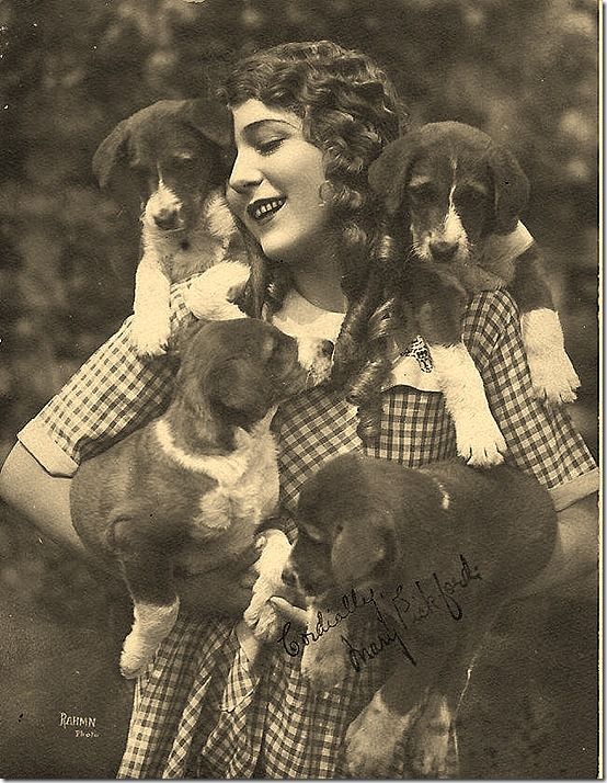 Mary Pickford and dogs by Rahmn