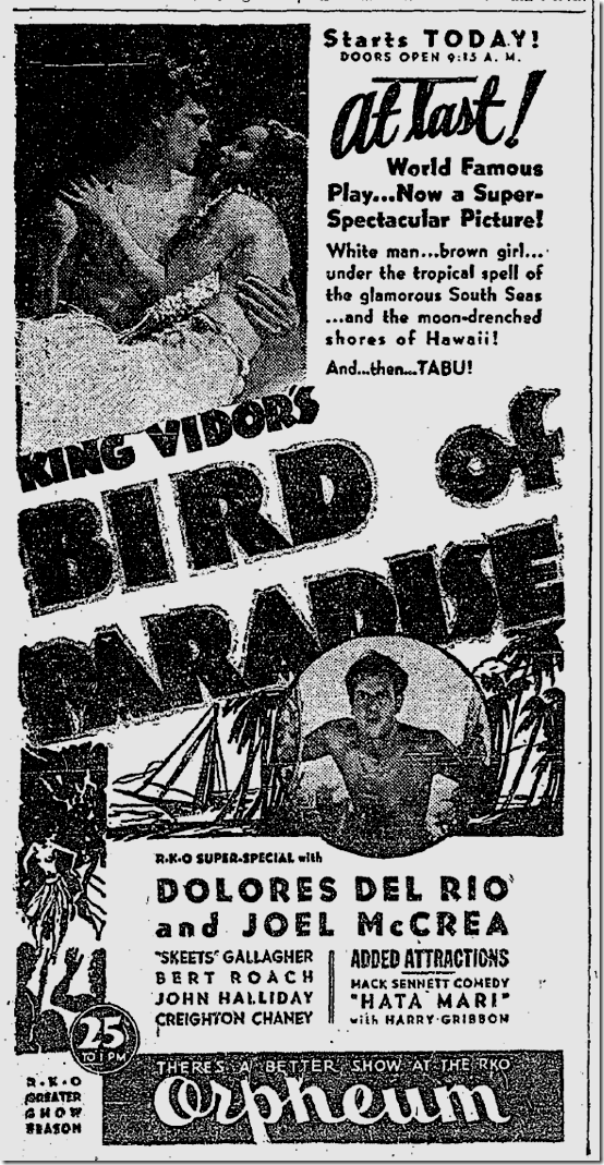 Sept. 2, 1932, Bird of Paradise