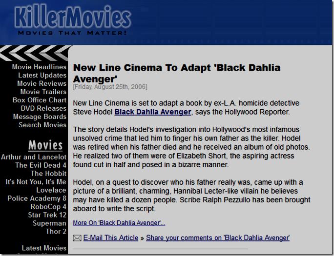 Killer Movies, Aug. 25, 2006.