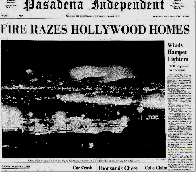 Hollywoodland Fire 1961 Flames from Crenshaw