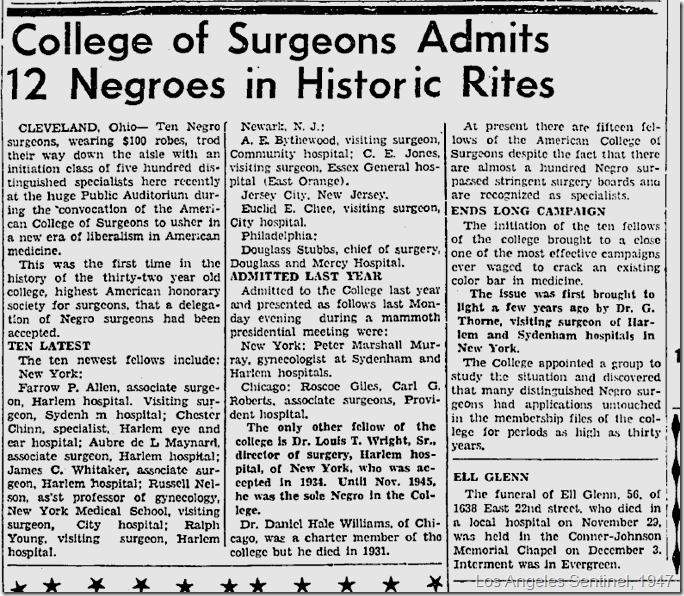 Jan. 2, 1947, American College of Surgeons admits 12 Negroes
