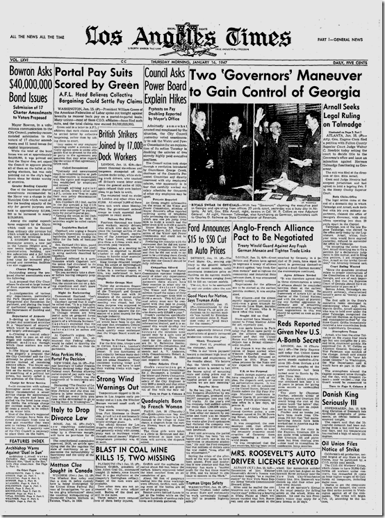 Jan. 16, 1947, Times Front Page