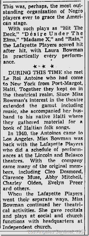 April 4, 1957, Laura Bowman