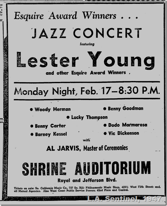 Feb. 13, 1947, Jazz Concert at the Shrine Auditorium