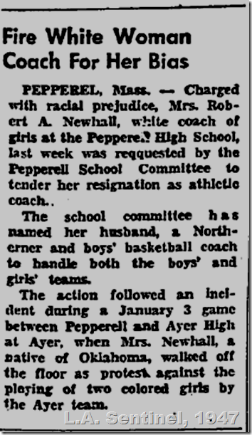 Feb. 6, 1947, White Coach Fired Over Bias