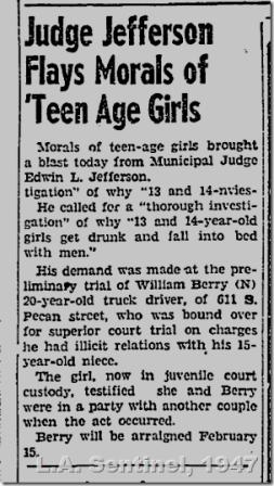 Feb. 13, 1947, Judge Flays Morals of Teen Age Girl