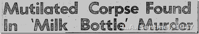 Feb. 20, 1947, Milk Bottle Murder