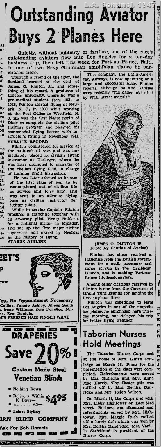April 3. 1947, James O. Plinton Jr.