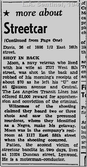 April 3, 1947, Streetcar Conductor
