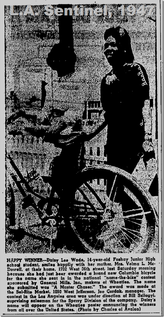 May 8, 1947, Girl Wins Bike