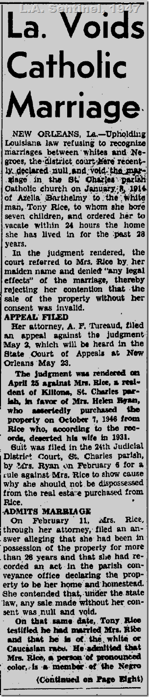 May 8, 1947: Court voids mixed marriage