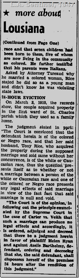 May 8, 1947, Court Voids Mixed Marriage