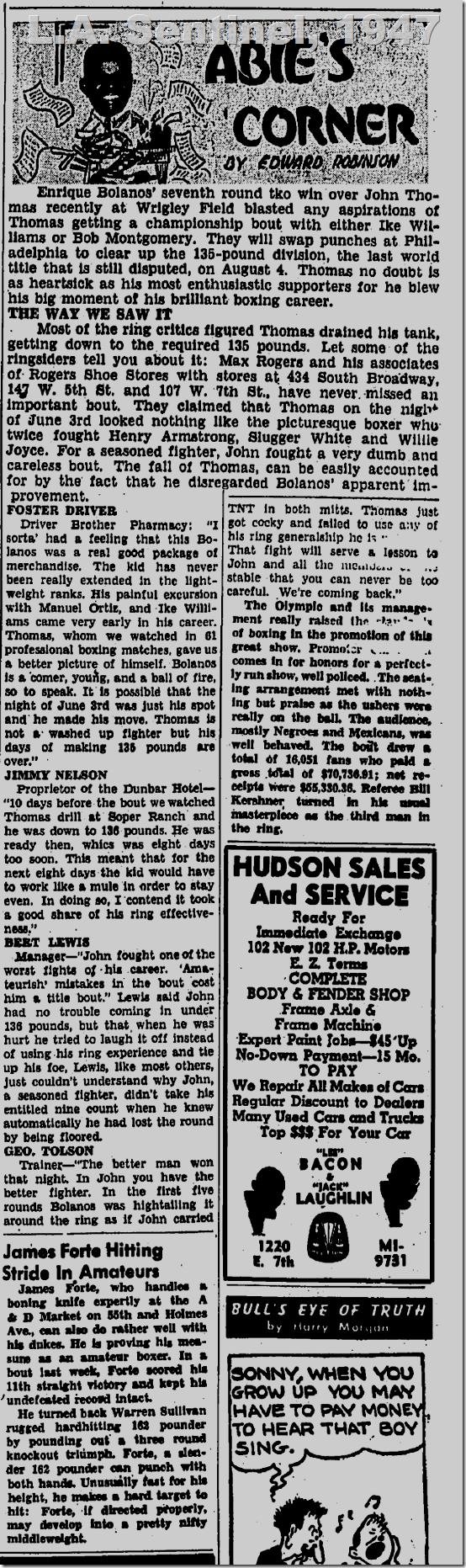 June 12, 1947, Abie's Corner