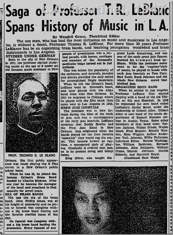 May 1, 1947, T.R. LeBlacn