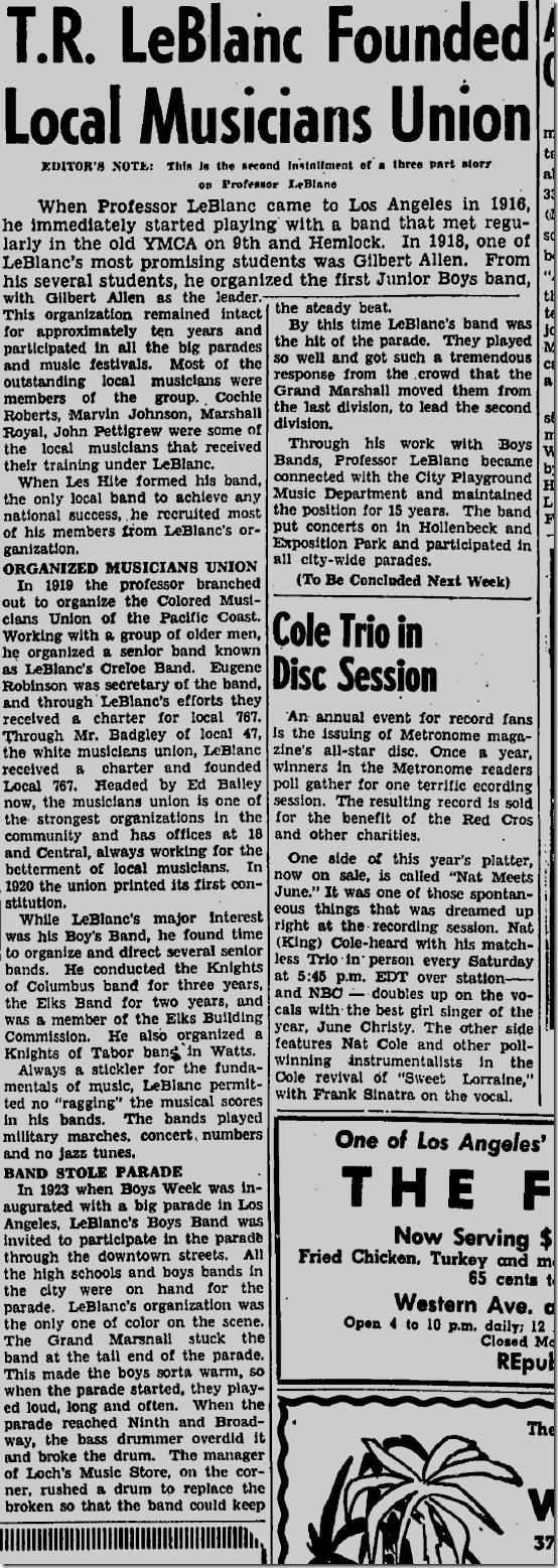 May 8, 1947, LeBlanc's Creole Band