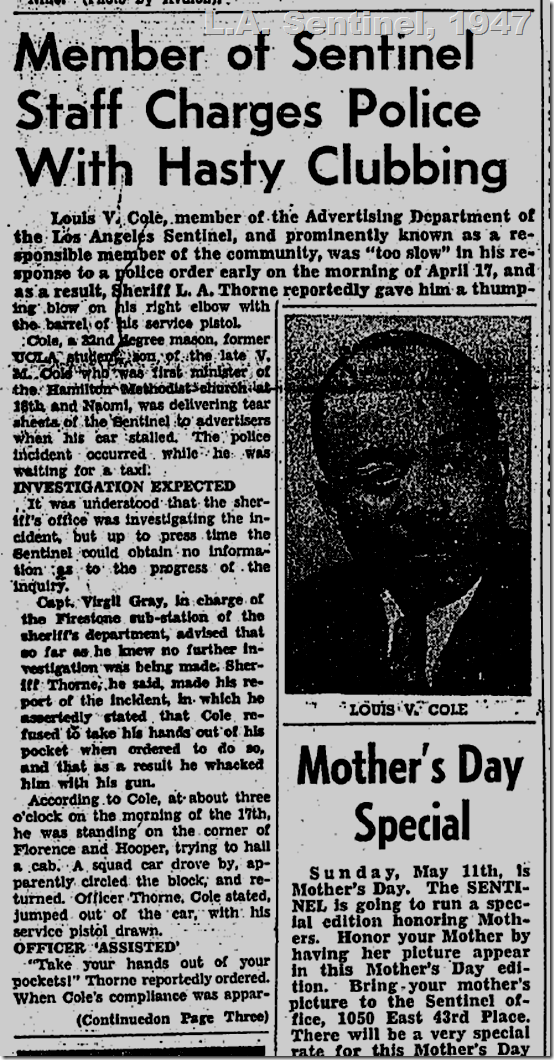 May 1, 1947, Police Brutality Charged
