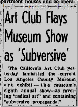 May 22, 1947, Art Club, L.A. Times