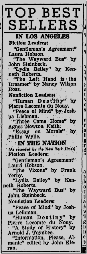 May 25, 1947, Bestsellers