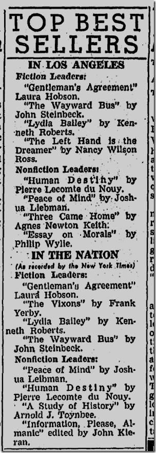 May 25, 1947, Bestsellers