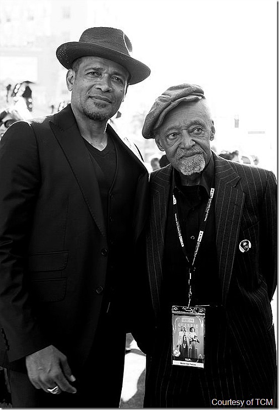 "HOLLYWOOD, CA - APRIL 26: (EDITORS NOTE: Image has been shot in black and white. Color version not available.) Actors Mario Van Peebles and Melvin Van Peebles attend The 50th Anniversary World Premiere Restoration of ""The Producers"" Opening Night Gala and Robert Osborne Award at the 2018 TCM Classic Film Festival at Grauman's Chinese Theatre on April 26, 2018 in Hollywood, California. 350569. (Photo by Charley Gallay/Getty Images for TCM)"