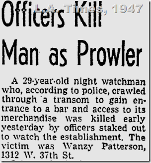 June 16, 1947, Watchman Shot