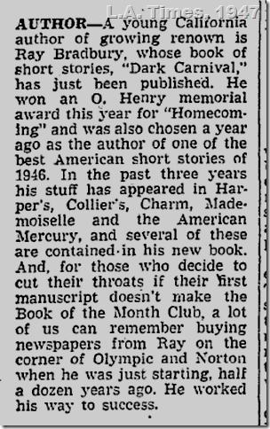 L.A. Times, 1947, Ray Bradbury