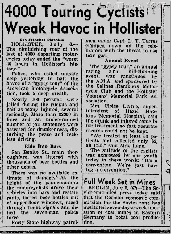 July 7, 1947, Bikers in Hollister