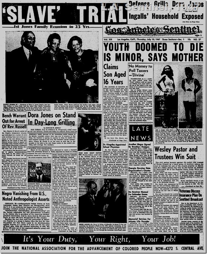 July 10, 1947, L.A. Sentinel
