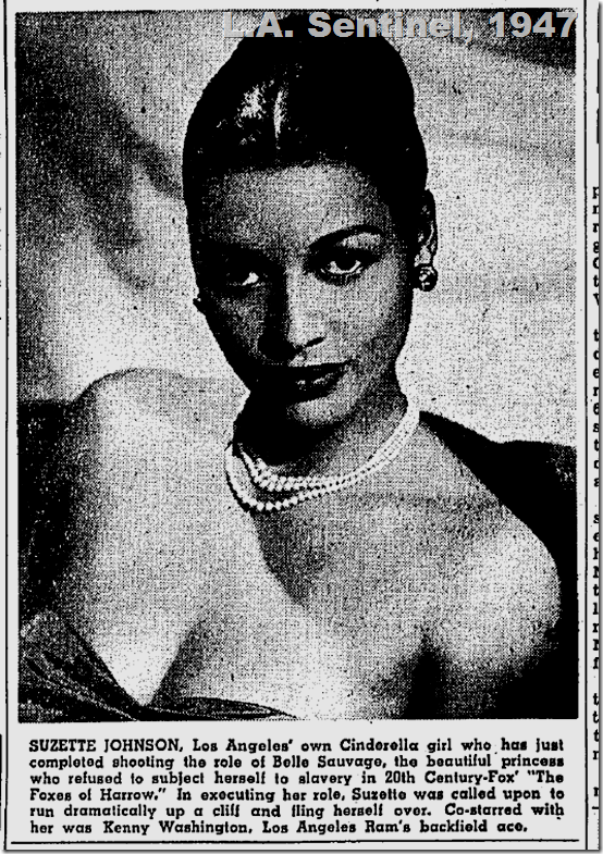 Suzette Johnson, L.A. Sentinel, 1947