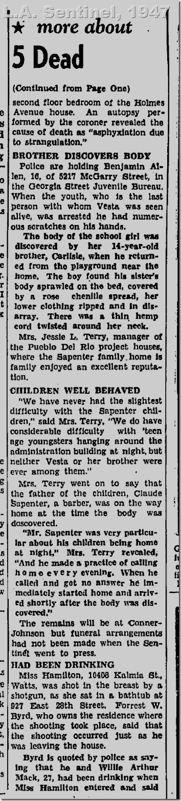 July 24, 1947, L.A. Sentinel, Vesta Belle Sapenter