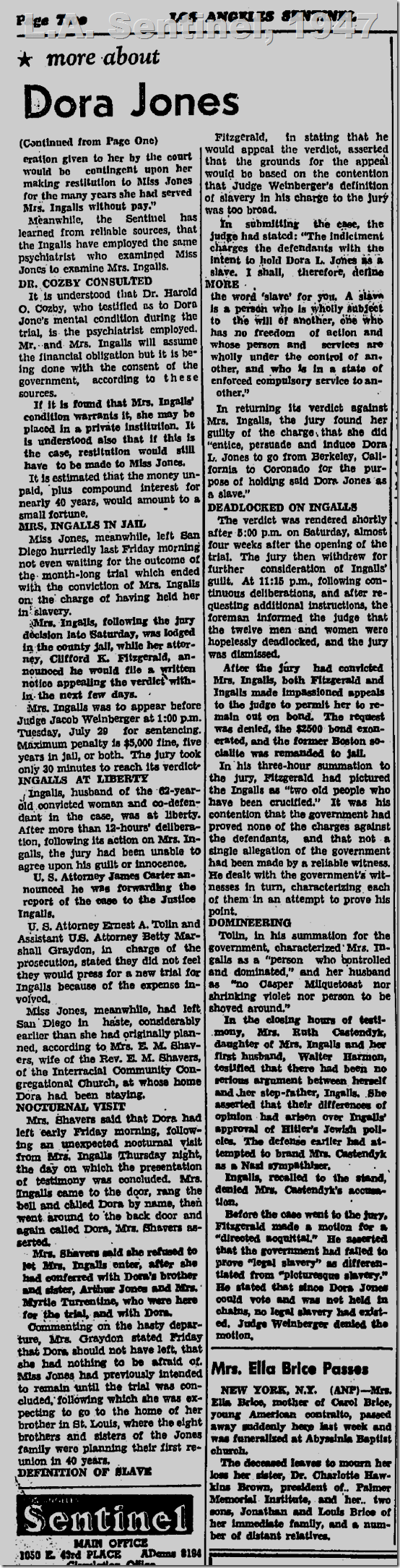 July 24, 1947, L.A. Sentinel, Slavery Case