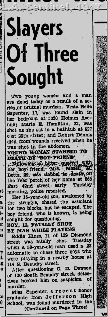 July 24, 1947, Vesta Belle Sapenter