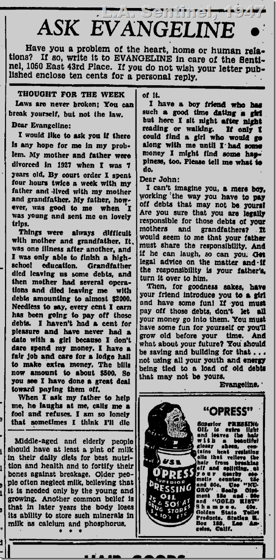 Aug. 14, 1947, Ask Evangeline