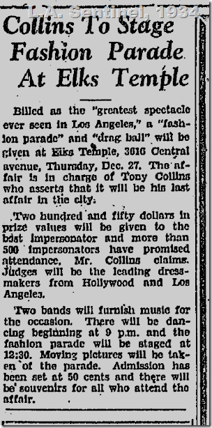L.A. Sentinel, Drag Ball, 1934