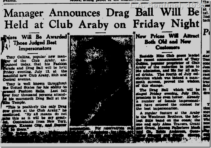 L.A. Sentinel, 1935, Drag Ball