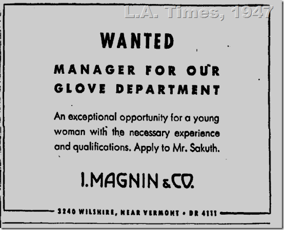 L.A. Times, 1947, Glove Department, I. Magnin