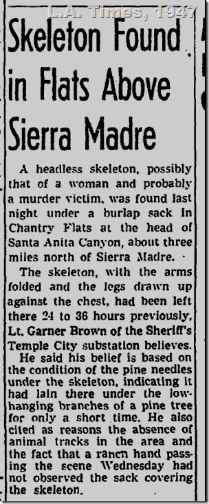 L.A. Times, 1947, Skeleton Found Above Sierra Madre